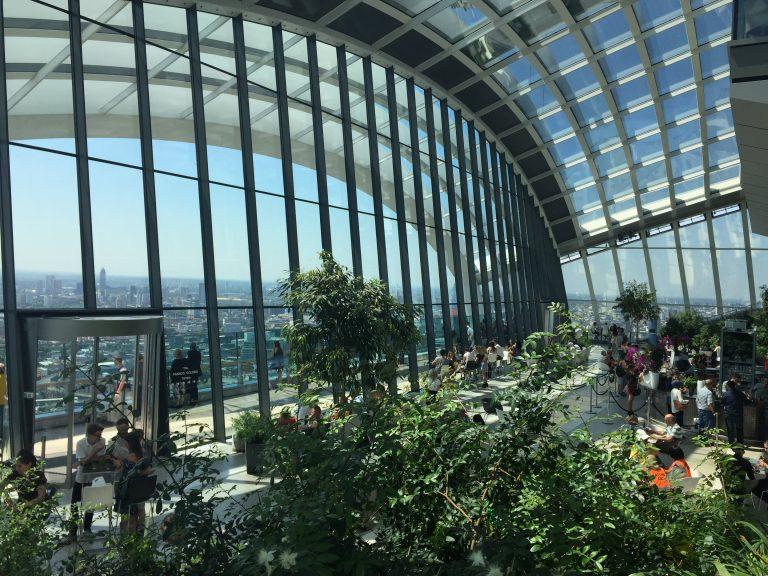 inside sky garden restaurant in London