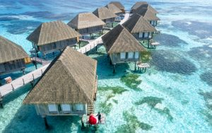 aerial photo of bungalows in Maldives