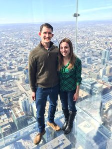 man and woman on Chicago sky deck