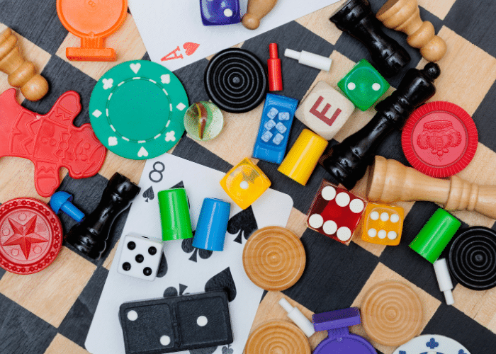 board game pieces flat lay