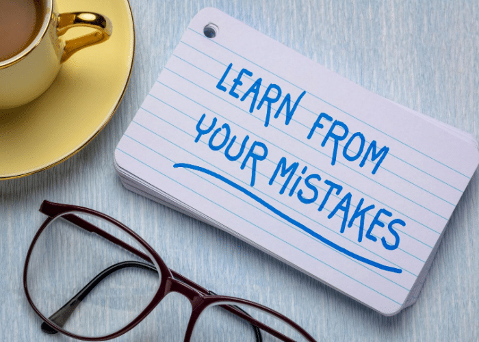 learn from mistakes written on index card