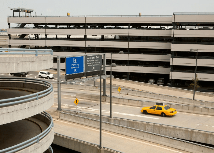 view of airport roads and parking garage