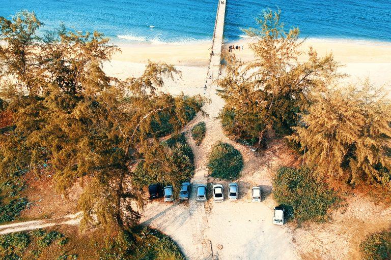 cars near beach