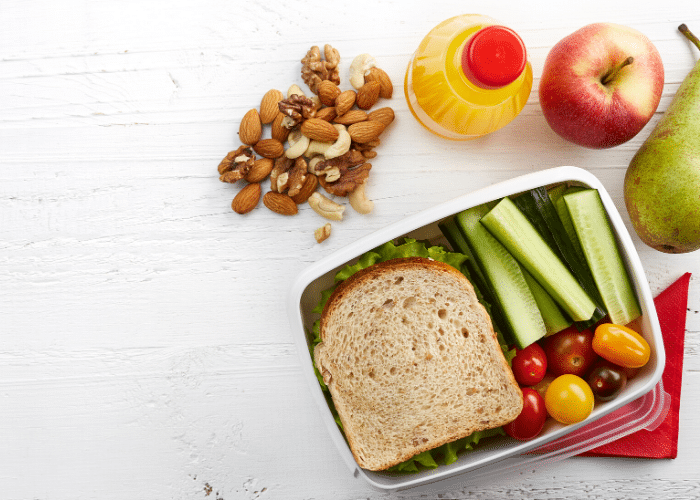 sandwich with vegetables and fruit and nuts