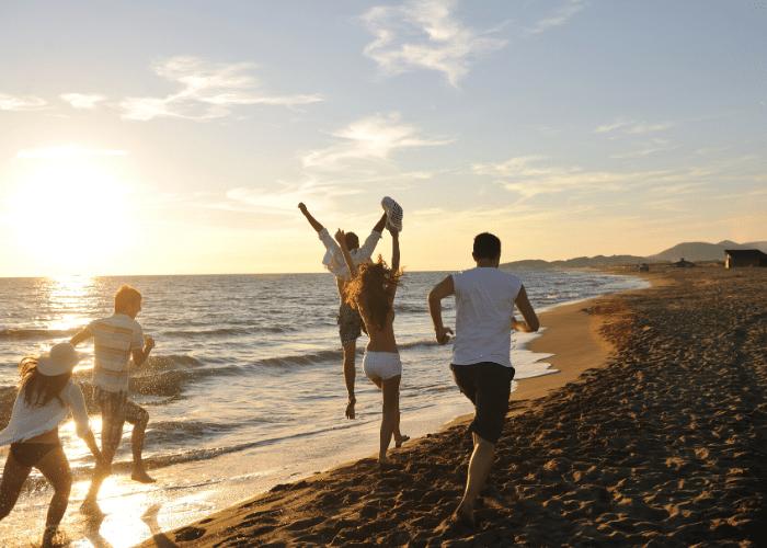 people running at beach