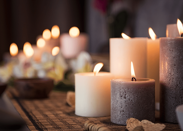 white and gray lit candles