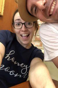 woman with honeymoonin shirt with man
